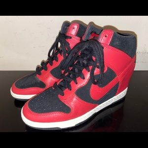 Nike Dunk Sky Hi Black Red Women's Sneakers Sz 7.5